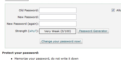 cPanel change password form