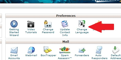Open the Change Language icon within cPanel.