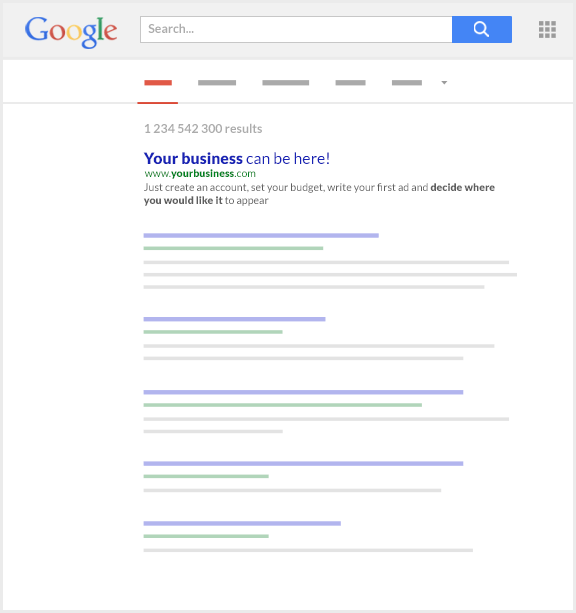 search engine results list
