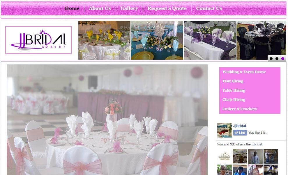 JJ Bridal web design