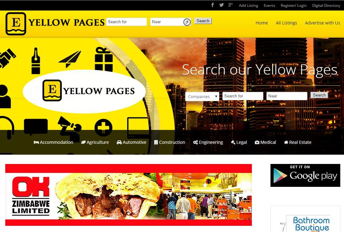 web design project for zim yellow page