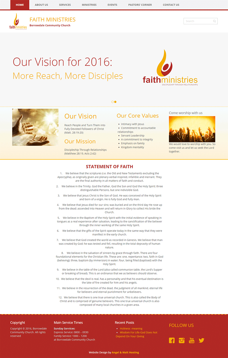 web design project for faith ministries