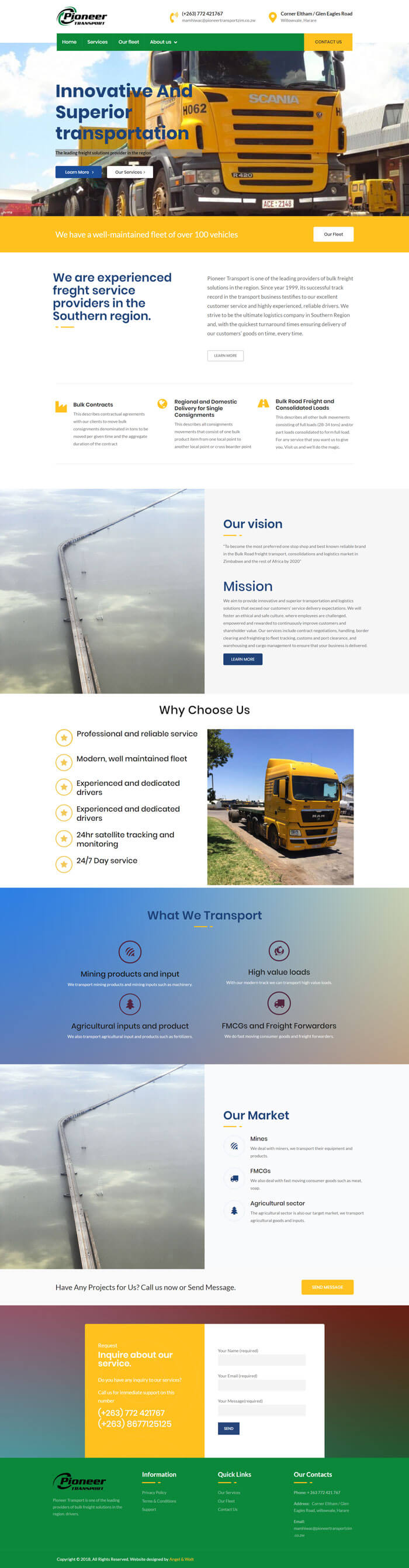web design project for pioneer transport