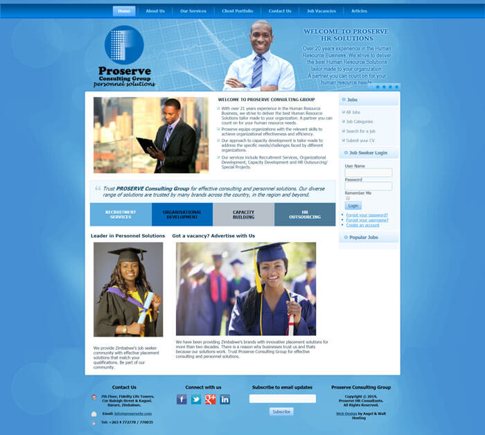 Proserve Consulting web design project